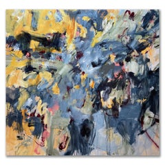 Large Modern Contemporary Oversized Floral Abstract Blue Yellow Pink 64x72