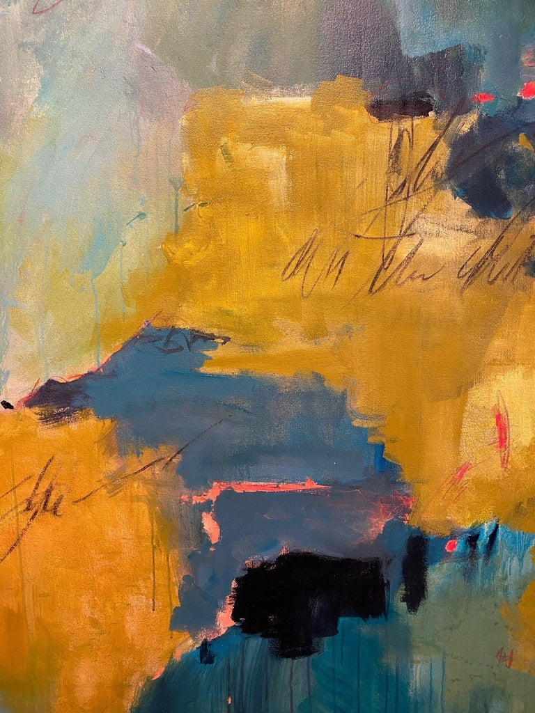 Jewel Tones Yellow Green Blue Pink Large Floral Abstract Contemporary 56x56 For Sale 1