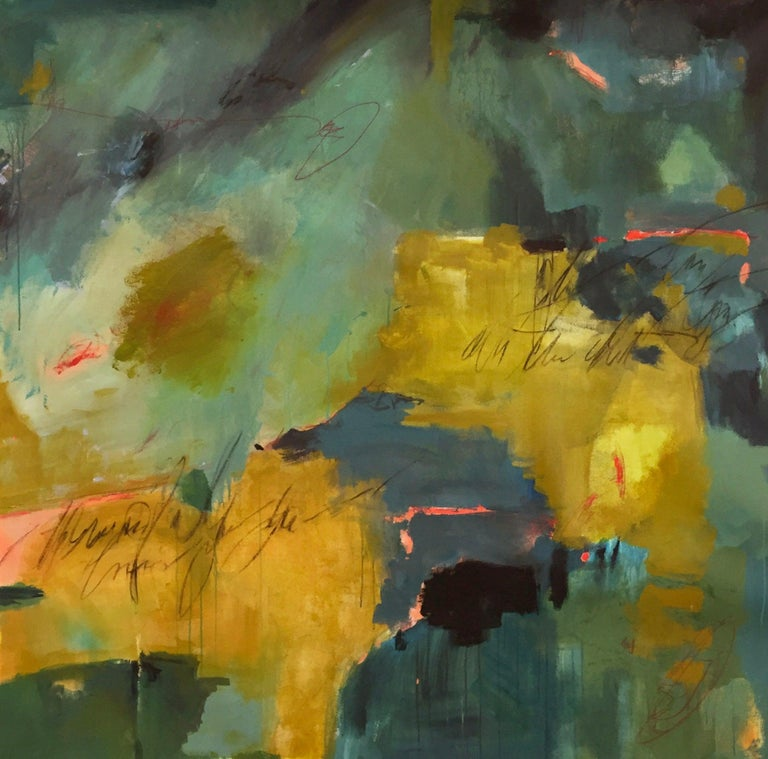 Jane Burton Abstract Painting - Jewel Tones Yellow Green Blue Pink Large Floral Abstract Contemporary 56x56