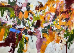 Blue Orange Green White Extra Large Contemporary Floral Abstract Painting 50x76