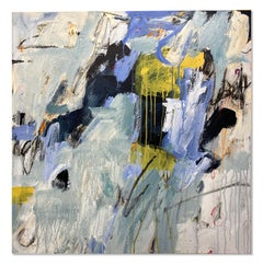 Blue Yellow Grey Original Floral Abstract Modern Contemporary Painting 30x30