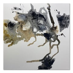 Large Modern Contemporary Monochrome Painting Grey Neutral White Abstract 48x48