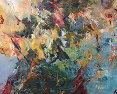 Original vibrant, expressive contemporary abstract painting by Jane Burton.