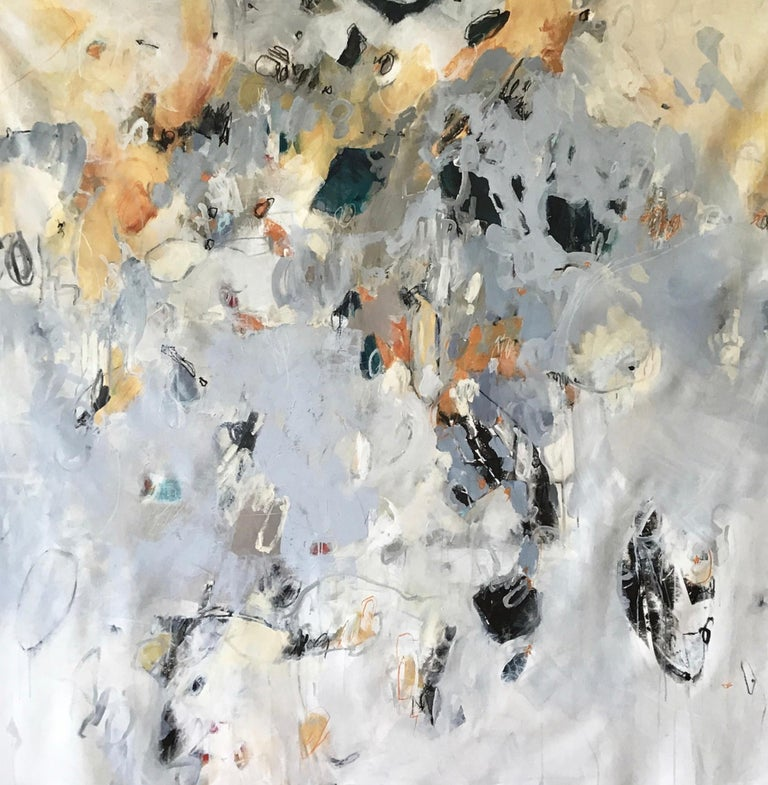 This original abstract painting incorporates splashes of color, Burton's signature scribbles & expressive gestures that can also be seen in her widely recognized sculptures. This oversized painting is the perfect statement piece with a bold use of