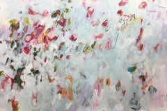 """Spring Dance""  Soft, floral inspired abstract painting (72x48) by Jane Burton"