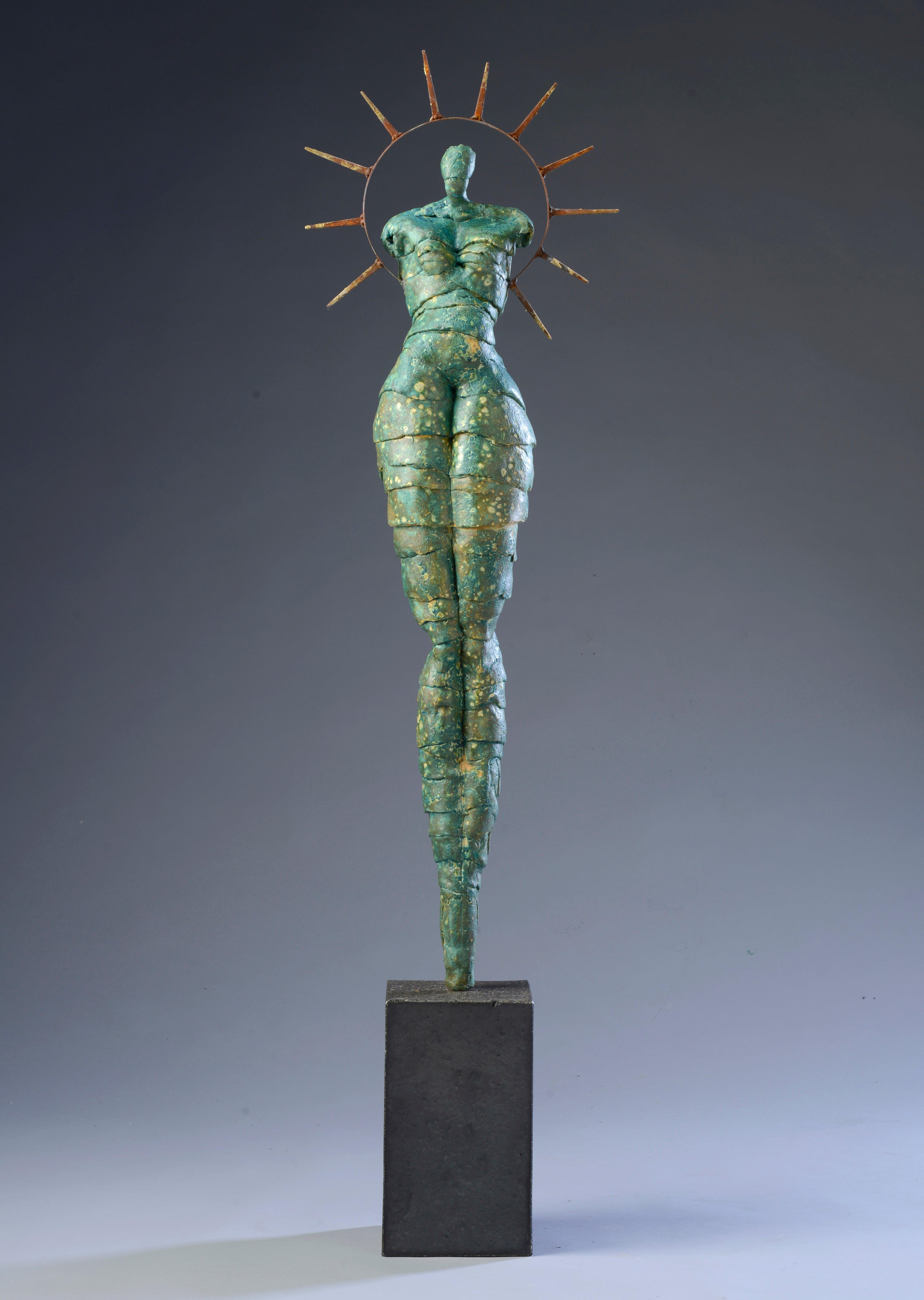 "Contemporary Figurative Sculpture Ceramic Green Gold Patina Woman Body 52"" Tall"