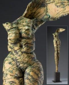Contemporary Modern Tall Ceramic Figurative Sculpture Nude Woman Body 77x21x10