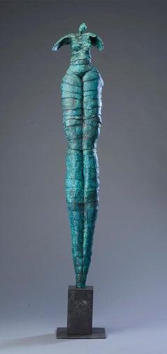 "Jane Burton. ""Passages"" Contemporary, Figurative Blue Ceramic Sculpture."