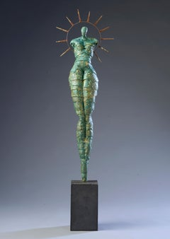 Contemporary Figurative Ceramic Green Gold Patina Sculpture Woman Body 52x14x6.5