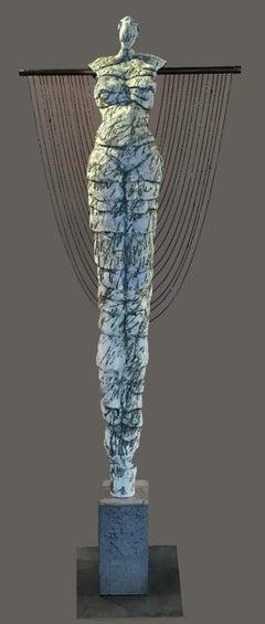 Tall Contemporary Figurative Ceramic Sculpture Woman Copper Beads 81x28x16