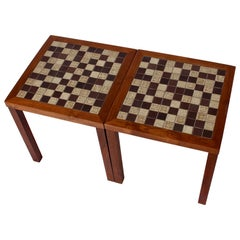 Jane & Gordon Martz for Marshall Studios Pair Walnut & Tile Occasional Tables