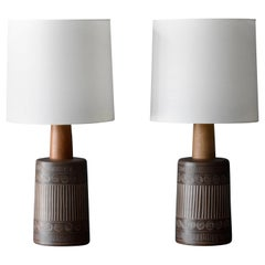 Jane & Gordon Martz, Large Table Lamps, Ceramic, Walnut, Linen, Marshall, 1950s