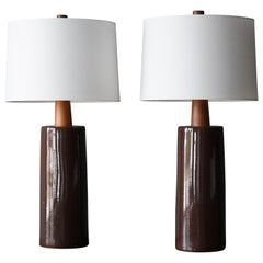 Jane & Gordon Martz, Large Table Lamps, Ceramic, Walnut, Marshal Studios, 1950s