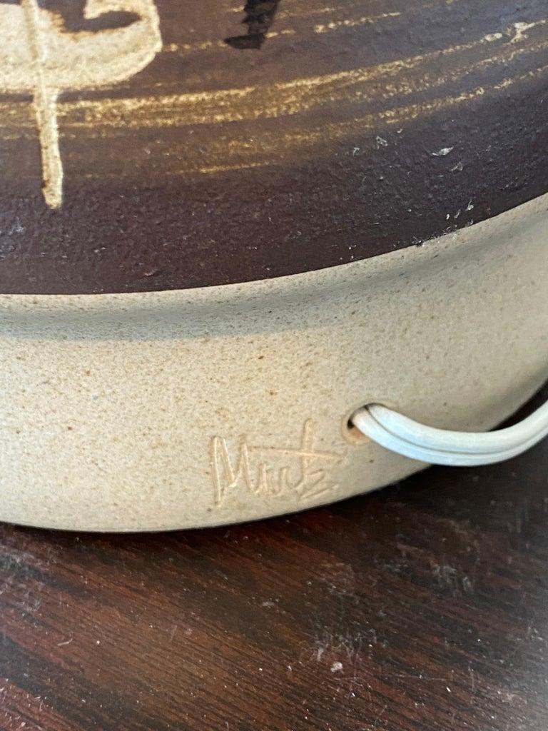 Jane & Gordon Martz, Table Lamp, Ceramic, Walnut, Linen Marshal Studios, 1950s In Good Condition For Sale In West Palm Beach, FL