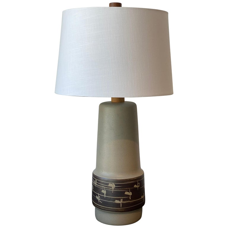Jane & Gordon Martz, Table Lamp, Ceramic, Walnut, Linen Marshal Studios, 1950s For Sale