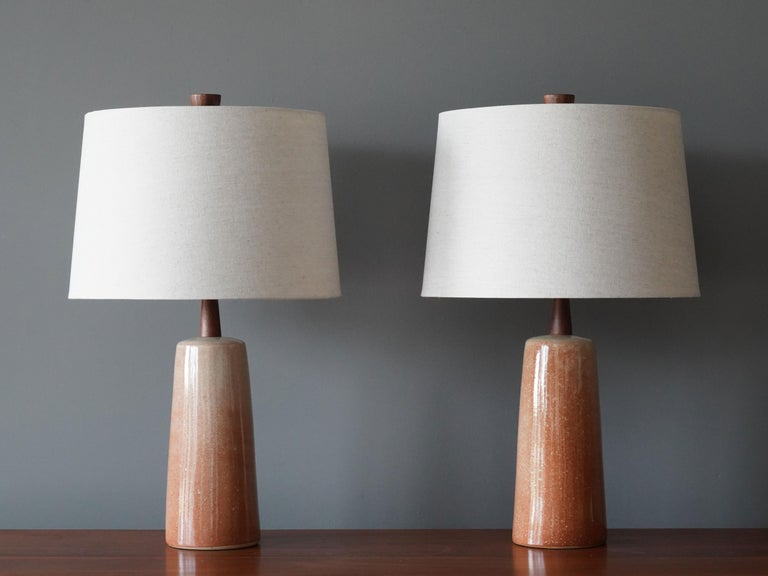 A pair of table lamps designed by husband and wife duo Jane & Gordon Martz. Produced by Marshall Studios, Indianapolis. 