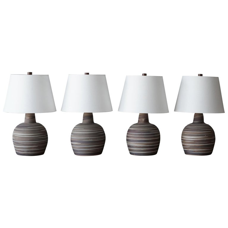Jane & Gordon Martz, Table Lamps, Ceramic, Walnut, Linen Marshal Studios, 1950s For Sale