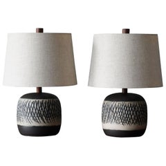 Jane & Gordon Martz, Table Lamps, Ceramic, Walnut, Linen Marshal Studios, 1950s