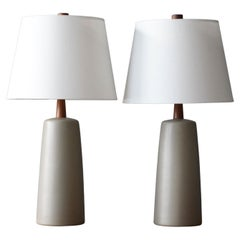 Jane & Gordon Martz, Table Lamps, Grey Ceramic, Walnut, Marshal Studios, 1960s