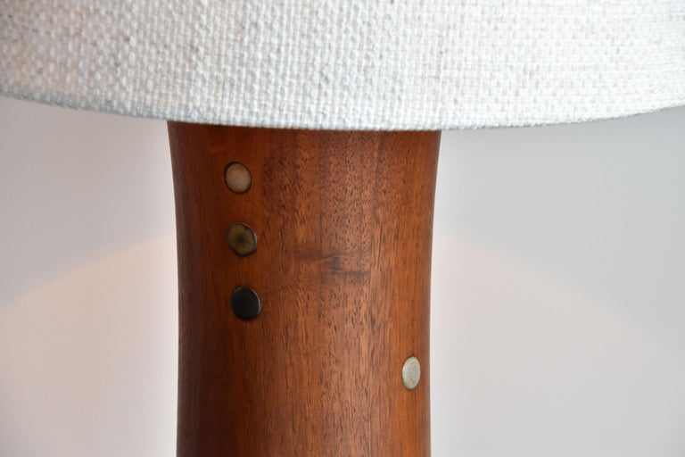 Jane & Gordon Martz, Table Lamps, Walnut, Ceramic, Linen Marshal Studios, 1950s In Excellent Condition For Sale In West Palm Beach, FL