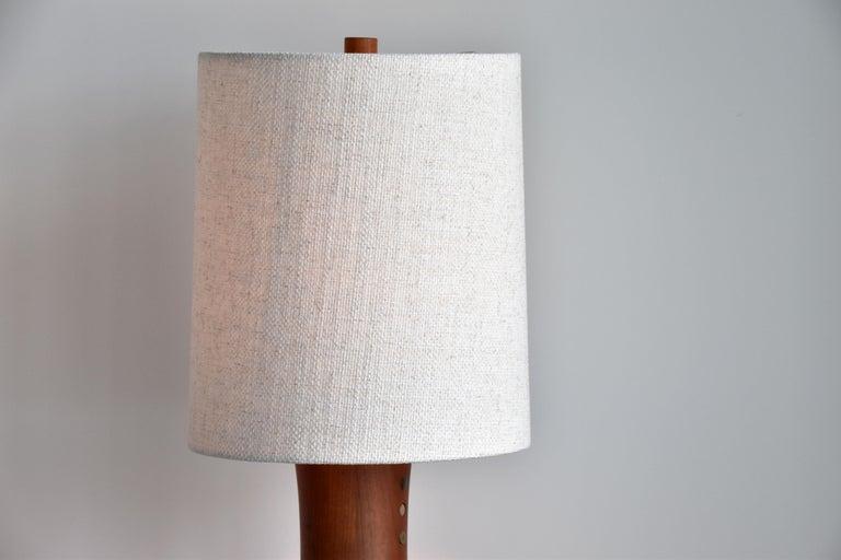 Jane & Gordon Martz, Table Lamps, Walnut, Ceramic, Linen Marshal Studios, 1950s For Sale 1