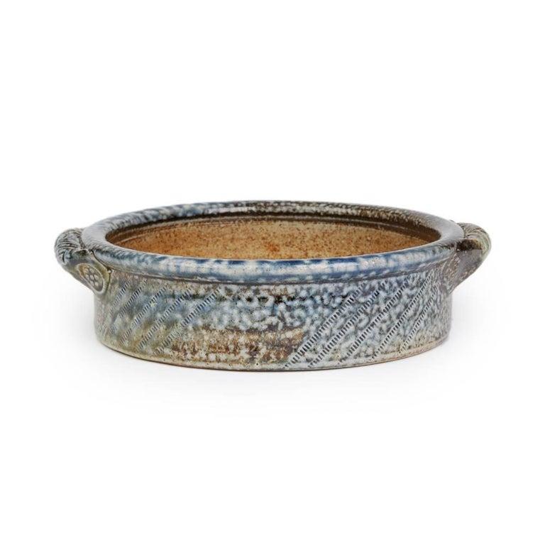 English Jane Hamlyn Studio Pottery Saltglazed Handled Bowl 20th Century For Sale