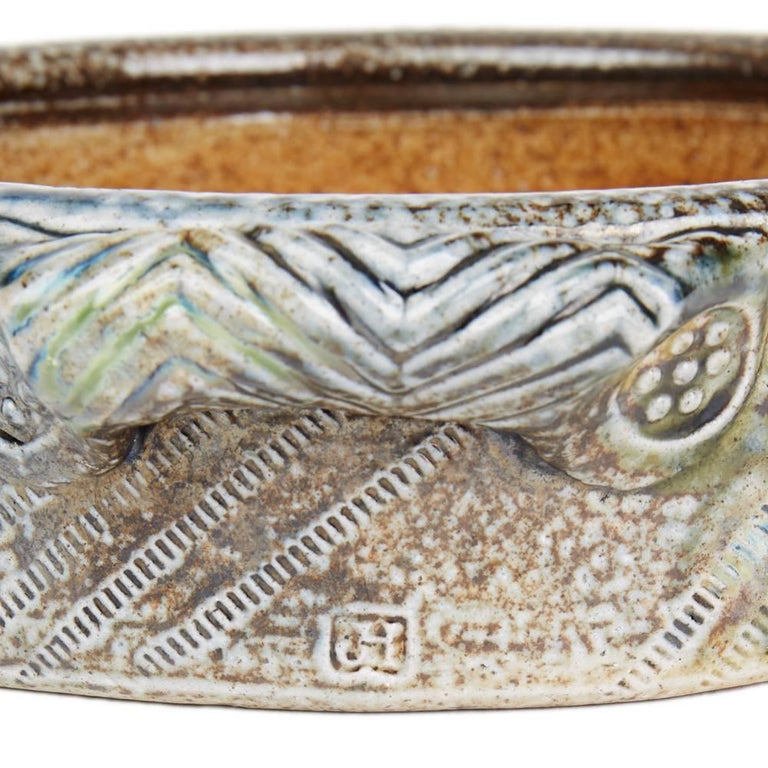 Jane Hamlyn Studio Pottery Saltglazed Handled Bowl 20th Century For Sale 1