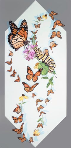 Kaleidoscope, Important Monarch Butterfly acrylic painting museum frame