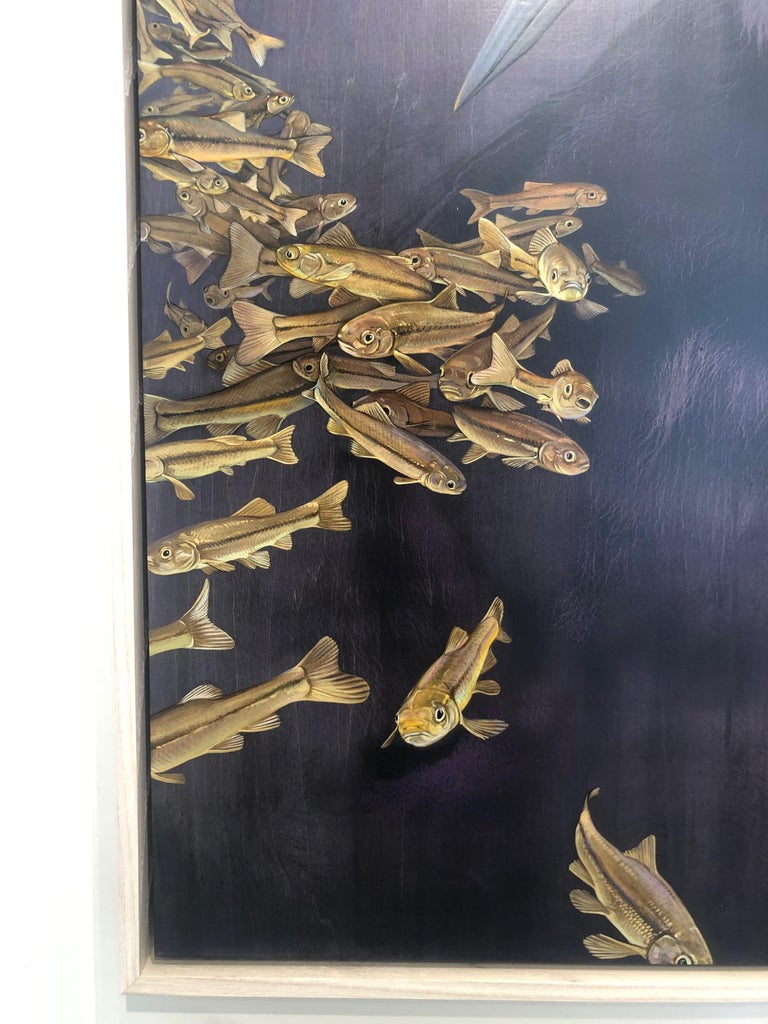 Soundings - original loon painting - Black Animal Painting by Jane Kim