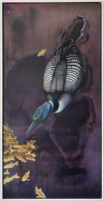 Jane Kim Animal Painting - Soundings - original loon painting