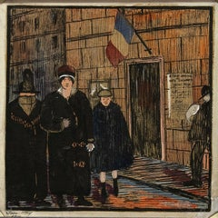 Paris, Decorative Arts School - Original Mixed Media by Jane Levy - 1914