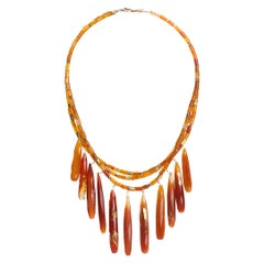 Jane Magon Collections Carnelian and 22 Karat Gold Leaf Drop Statement Necklace
