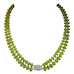 Jane Magon Collections Fine Peridot and Diamond White Gold Choker Necklace