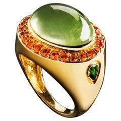 Jane Magon Collections Green Beryl and Orange Sapphire 14 Karat Gold Ring