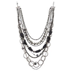 Multistrands of Meteorite, Pyrite, Black FWP Statement Necklace in Silver