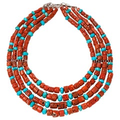 Jane Magon Collections Natural Coral and Turquoise Rivera Statement Necklace