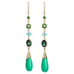 Diamond and Precious Gemstone Drop Statement Earrings in 18 Karat Gold