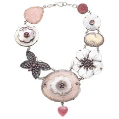 """Jane Magon Collections """"Romance in the Garden"""" Gemstone Silver Necklace"""
