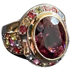 Jane Magon Collections Rubellite and Multi Sapphire Statement Ring in Silver