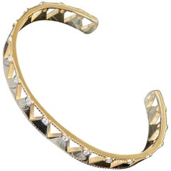 Jane Magon Collections Diamond Arrowhead 14 Karat Gold Cuff Statement Bracelet