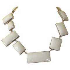 Jane Magon Collections Statement Necklace with White Agate in Sterling Silver
