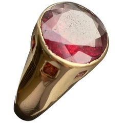 Jane Magon Collections Statement Ring Stained Glass Window with Rubellite