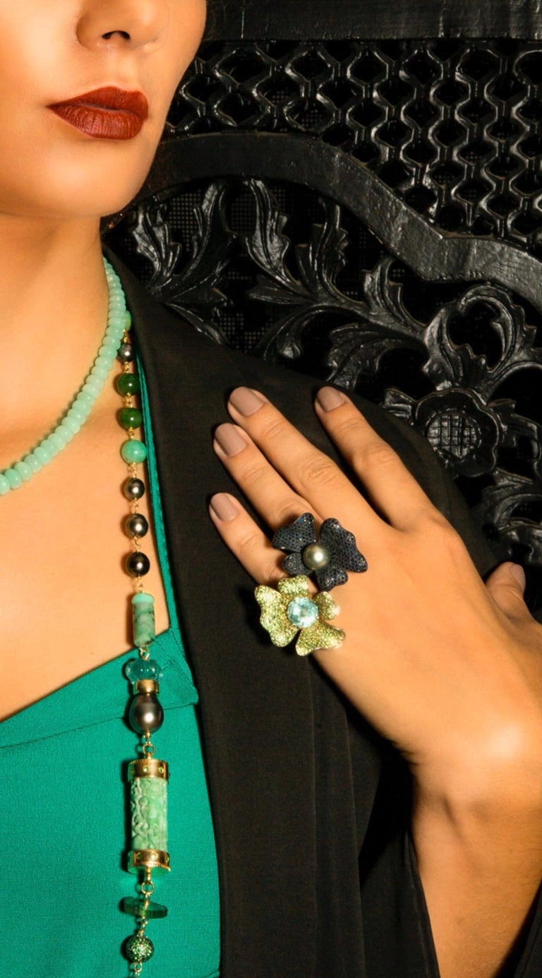 Tahitian Pearl with Blue Sapphires Statement Ring in Oxidized Sterling Silver For Sale 1