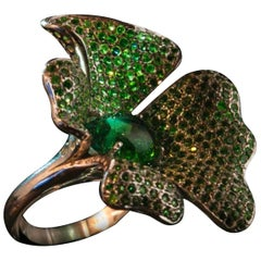 Large Tourmaline and Tsavorite Flower Silver Statement Ring