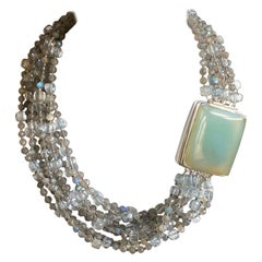 Jane Magon Natural Labradorite and Chalcedony Statement Necklace in Silver