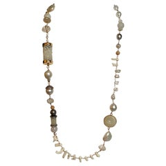 Jane Magon Necklace w/ South Sea Pearls, Diamonds, Jade, Coral in 18 Karat Gold