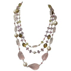 Jane Magon Three Multi Strands of Rose Quartz and Gemstones in Sterling Silver