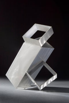 Box Trot, brushed aluminum sculpture