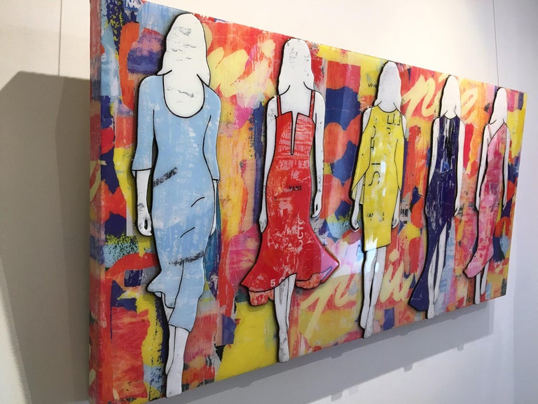 5 Walking Girls Confetti, Jane Maxwell, Mixed Media Collage on Panel-Figurative - Contemporary Mixed Media Art by Jane Maxwell