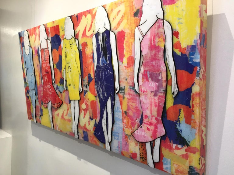 JANE MAXWELL 5 Walking Girls Confetti Mixed Media with Resin on Panel 30 inches x 60 inches  Jane Maxwell's current work largely focuses on women, body image and the feminine ideal. Her collages are deeply layered works, combining color, texture and
